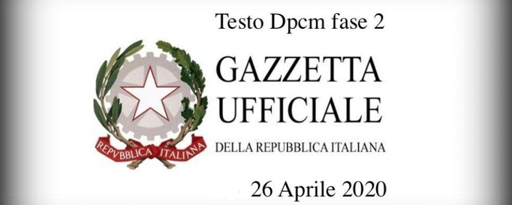 DPCM 26 aprile 2020 – Codici ATECO